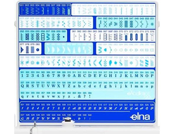 Ściegi użytkowe, ozdobne i literki w przykładowej maszynie komputerowej.
