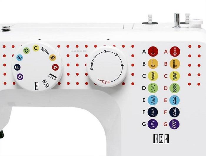 Przykładowe ściegi w jednej z najprostszych maszyn domowych.
